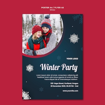 Winter concept flyer template