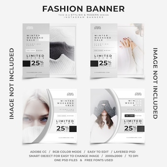 Winter discounts instagram banners