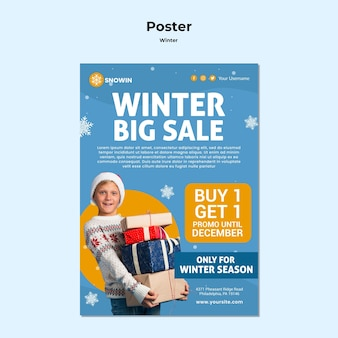 Winter family time ad poster template
