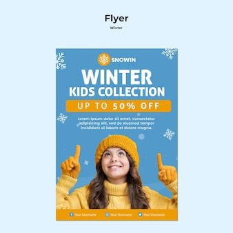 Winter family time flyer template