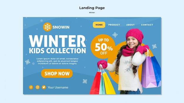Winter family time landing page template