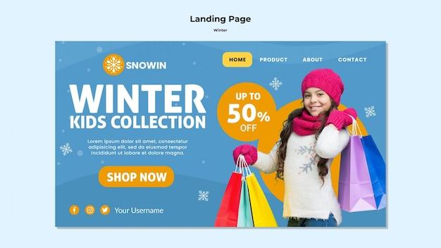 Modello di pagina di destinazione per il tempo della famiglia invernale