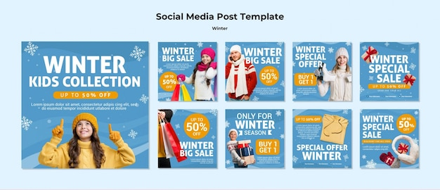 Winter family time social media post template