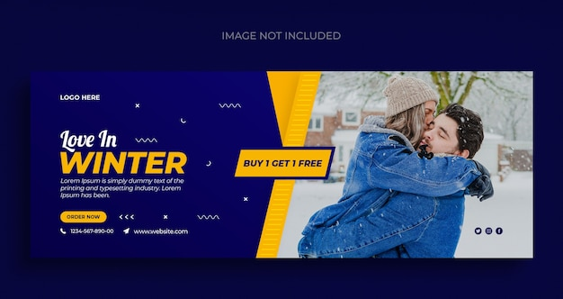 Зимняя распродажа моды в социальных сетях, веб-баннер, флаер и шаблон обложки для facebook