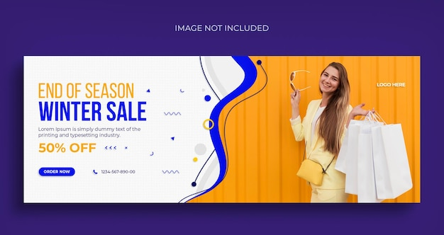 Winter fashion sale social media web banner flyer and facebook cover design template