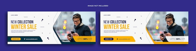 Winter fashion sale social media web banner flyer and facebook cover photo design template