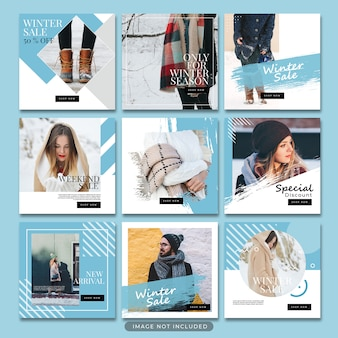 Winter fashion social media post template psd