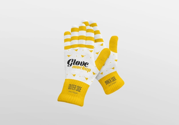 Winter gloves mockup