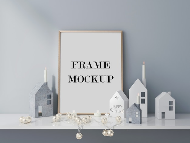 Winter holiday frame mockup 3d visualization