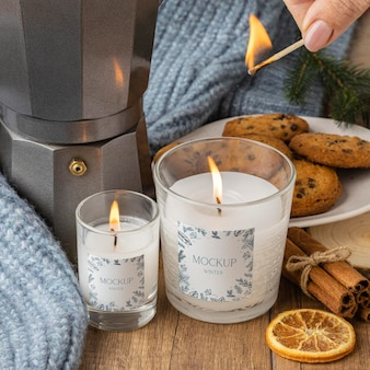 Winter hygge assortment with candles mock-up