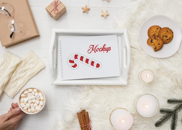 Winter hygge assortment with card mock-up
