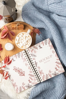 Winter hygge assortment with notebook mock-up