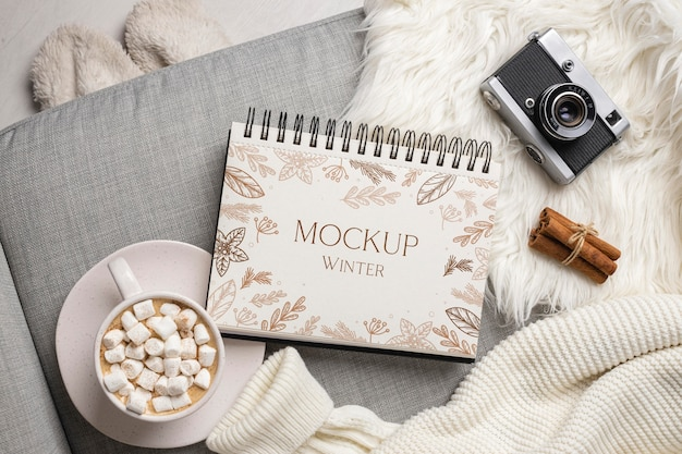 Winter hygge assortment with notepad mock-up