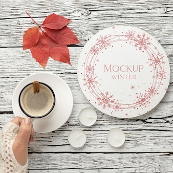 Winter hygge assortment with plate mock-up