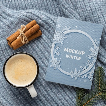 Winter hygge composition with card mock-up