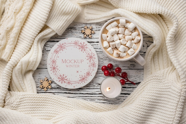Winter hygge composition with plate mock-up