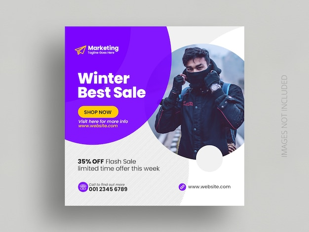 Winter jacket sale social media post template