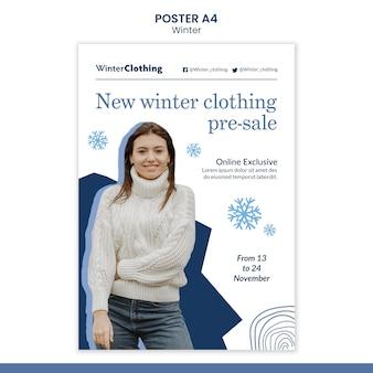 Modello di disegno del manifesto invernale