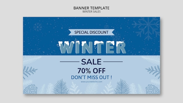 Winter sale in banner template