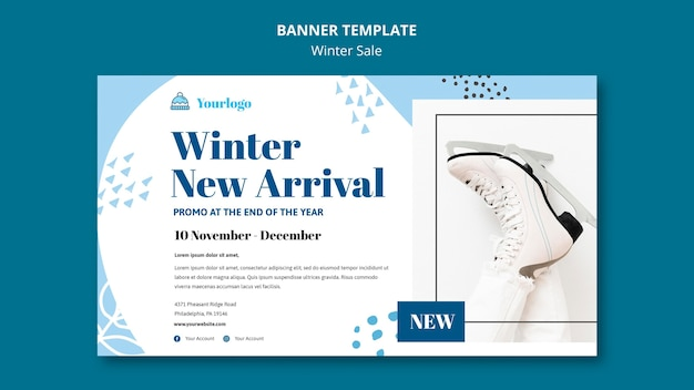 Winter sale collection banner template