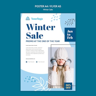 Winter sale collection flyer template