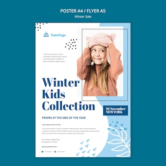 Winter sale collection poster template