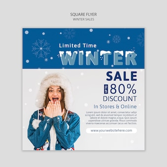 Winter sale flyer with discount