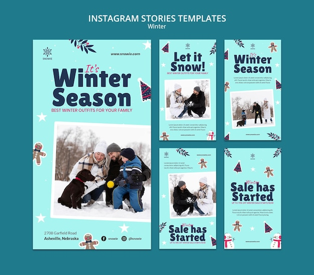 Modello di design stry instagram saldi invernali