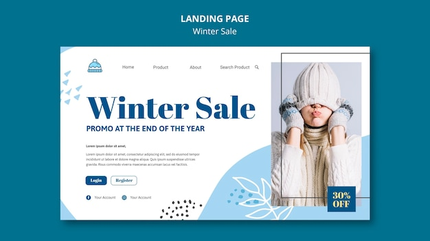 Winter sale landing page template