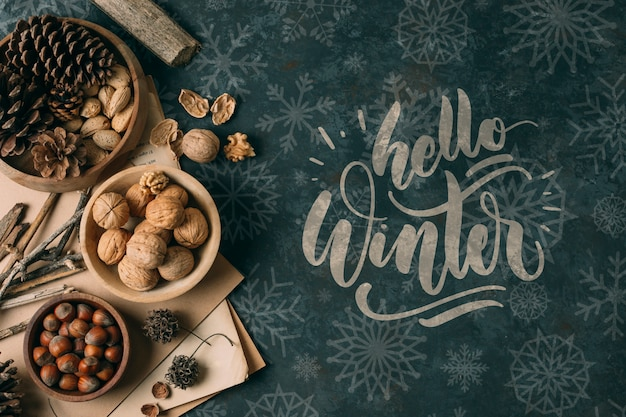 Winter snack with hello winter greeting