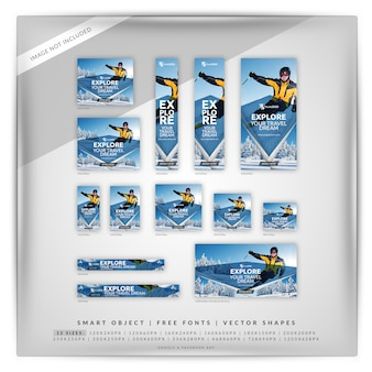 Winter travel banner set