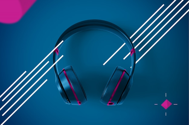 Wireless headphones on abstract modern design Premium Psd