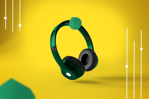 Wireless headphones on abstract modern design