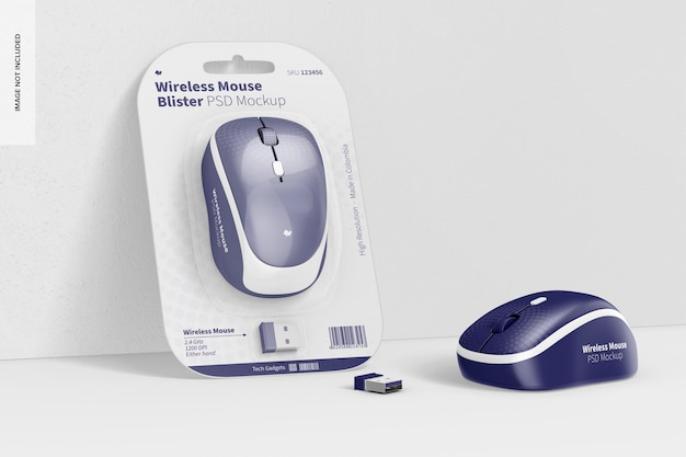 Mockup di blister per mouse wireless, appoggiato