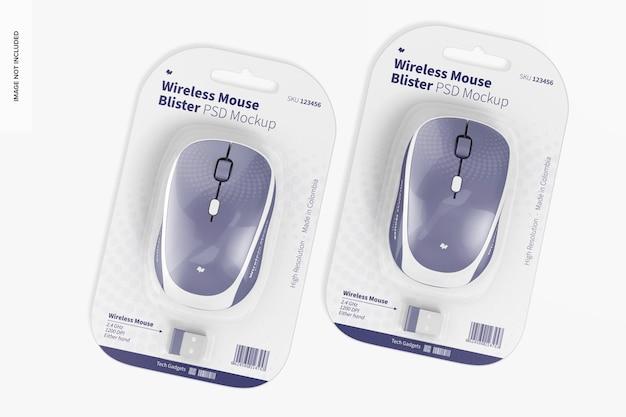 Mockup di blister per mouse wireless, vista dall'alto