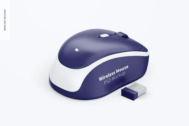 Mockup di mouse wireless, vista isometrica a sinistra