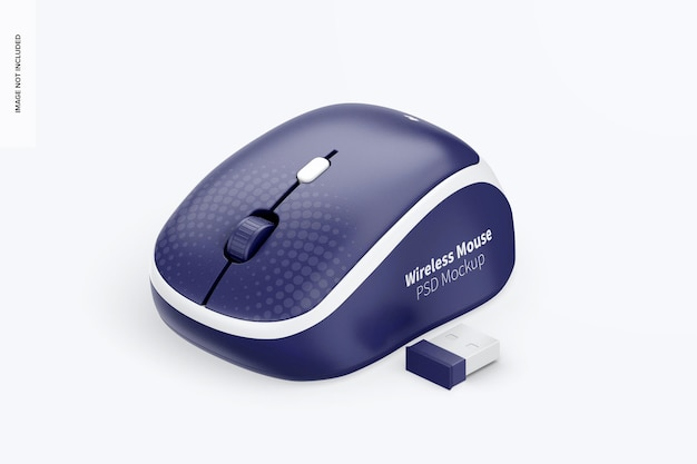 ワイヤレスマウスモックアップ、アイソメビュー