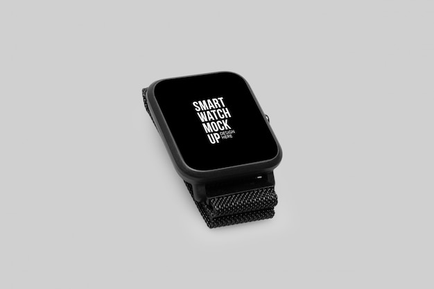 Wireless smart watch with screen mockup template