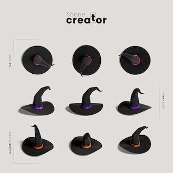 Witch hat  variety of angles halloween scene creator
