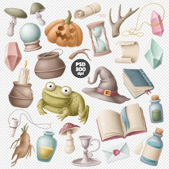 Witch items clipart collection