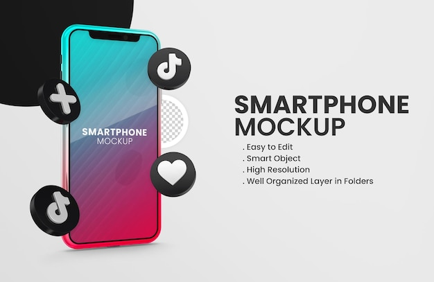 With 3d render tiktok icon smartphone mockup