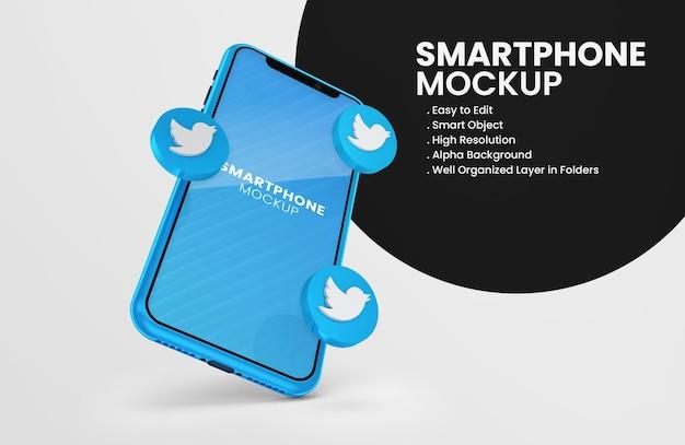 3d 렌더링 트위터 아이콘 스마트 폰 모형