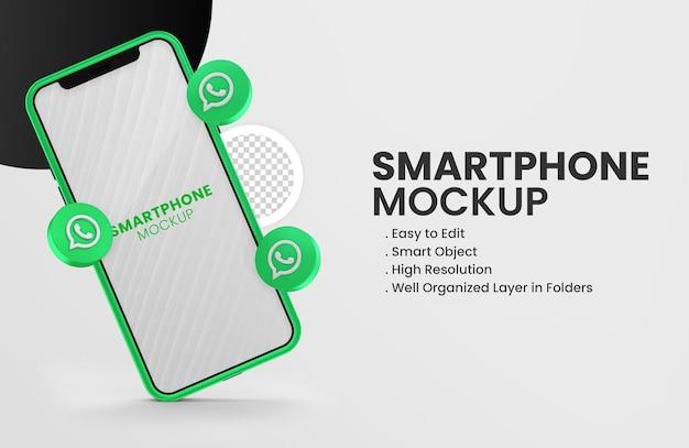 С 3d-рендерингом значка whatsapp на зеленом макете смартфона