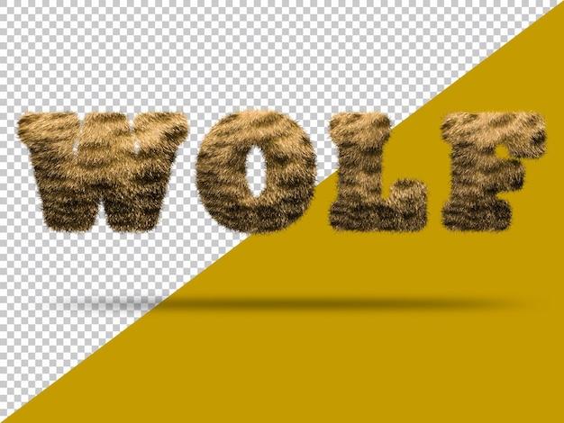 Текст волка с реалистичным 3d мехом
