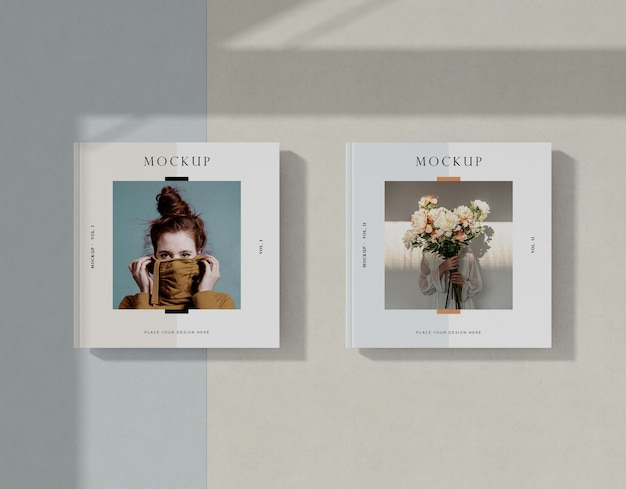 女性と花の編集誌のモックアップ
