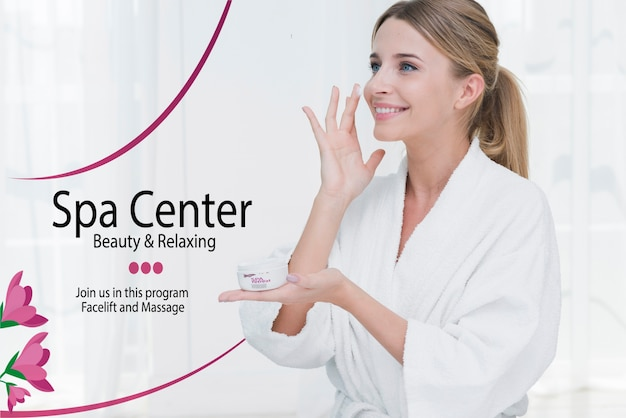 Woman applying moisture cream at spa template