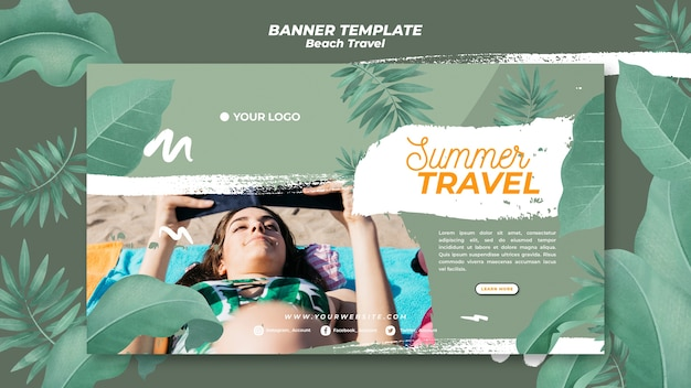Woman at the beach summer travel banner