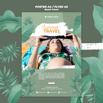 Woman on the beach summer travel poster template