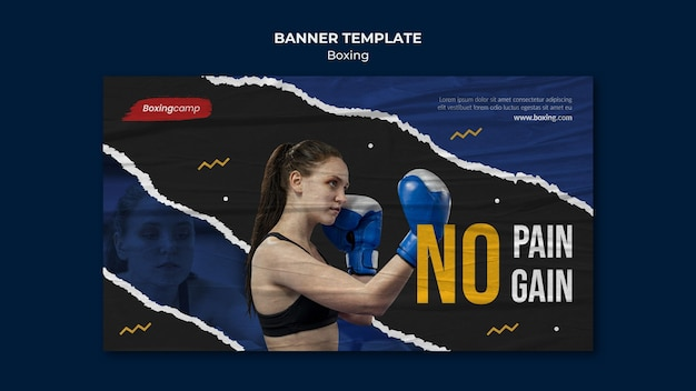 Woman boxing banner template