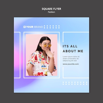 Woman covering hr face with hand fashion square flyer template